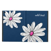Trendy Daisy Floral Illustration - navy and pink Cover For iPad Air