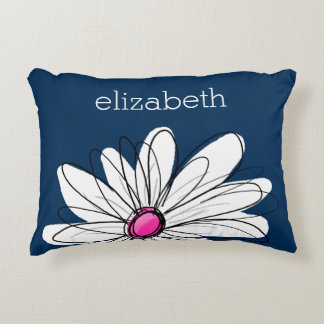 Trendy Daisy Floral Illustration - navy and pink Decorative Pillow