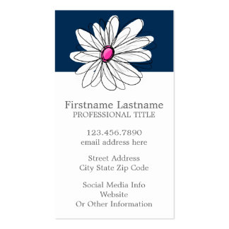 Trendy Daisy Floral Illustration - navy and pink Double-Sided Standard Business Cards (Pack Of 100)