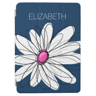 Trendy Daisy Floral Illustration - navy and pink iPad Air Cover
