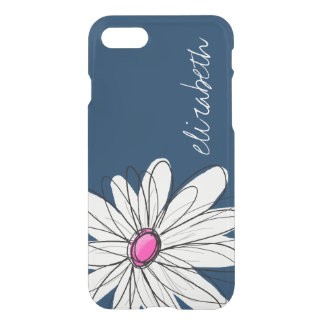 Trendy Daisy Floral Illustration - navy and pink iPhone 7 Case