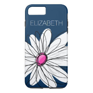 Trendy Daisy Floral Illustration - navy and pink iPhone 7 Plus Case
