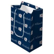 Trendy Daisy Floral Illustration - navy and pink Medium Gift Bag