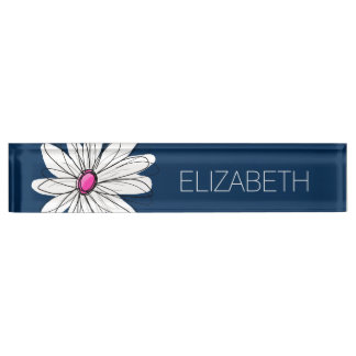 Trendy Daisy Floral Illustration - navy and pink Desk Name Plate