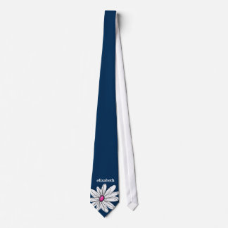 Trendy Daisy Floral Illustration - navy and pink Neck Tie