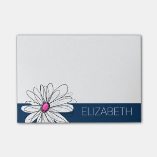 Trendy Daisy Floral Illustration - navy and pink Post-it® Notes