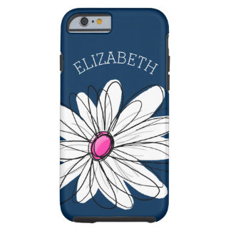 Trendy Daisy Floral Illustration - navy and pink Tough iPhone 6 Case