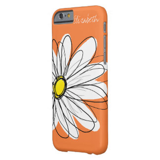 Trendy Daisy Floral Illustration - orange yellow Barely There iPhone 6 Case