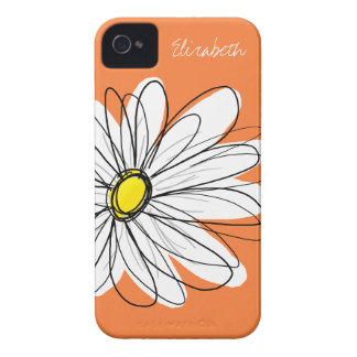 Trendy Daisy Floral Illustration - orange yellow iPhone 4 Cover