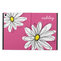 Trendy Daisy Floral Illustration - pink and yellow iPad Air Cases at Zazzle