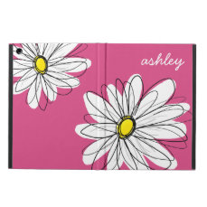 Trendy Daisy Floral Illustration - pink and yellow iPad Air Cover