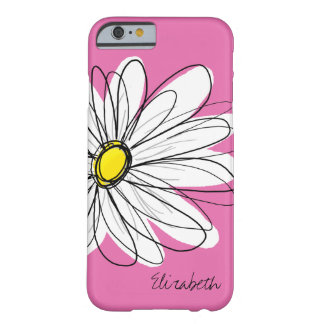 Trendy Daisy Floral Illustration - pink yellow Barely There iPhone 6 Case