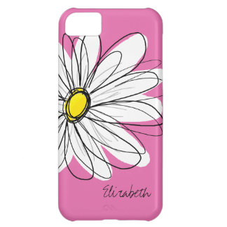 Trendy Daisy Floral Illustration - pink yellow Cover For iPhone 5C