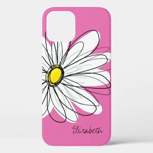 Trendy Daisy Floral Illustration - pink yellow Phone Case