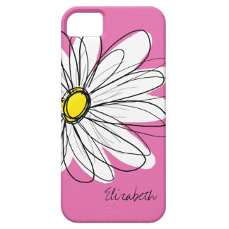 Trendy Daisy Floral Illustration - pink yellow iPhone 5 Case
