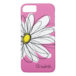 Trendy Daisy Floral Illustration - pink yellow iPhone 7 Case