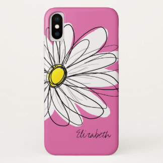 Trendy Daisy Floral Illustration - pink yellow iPhone X Case
