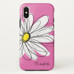 Trendy Daisy Floral Illustration - pink yellow iPhone XS Case