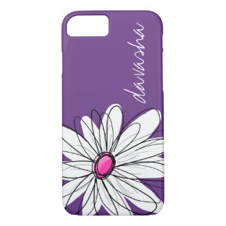 Trendy Daisy Floral Illustration - purple and pink iPhone 7 Case