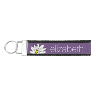 Trendy Daisy Floral Illustration - purple yellow Wrist Keychain