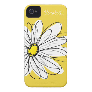 Trendy Daisy Floral Illustration - yellow iPhone 4 Case