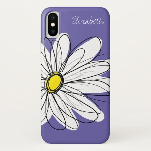 Trendy Daisy Floral Illustration yellow purple Phone Case