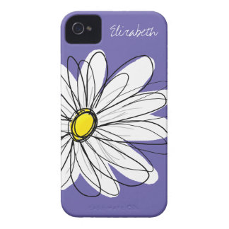 Trendy Daisy Floral Illustration yellow purple iPhone 4 Cover