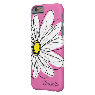 Trendy Daisy Flower with Name - pink yellow Barely There iPhone 6 Case