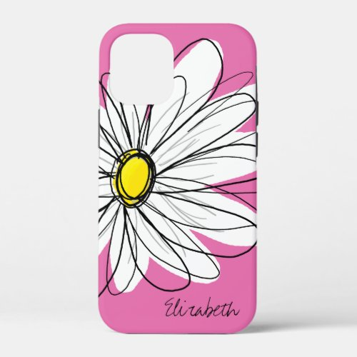 Trendy Daisy Flower with Name - pink yellow Phone Case