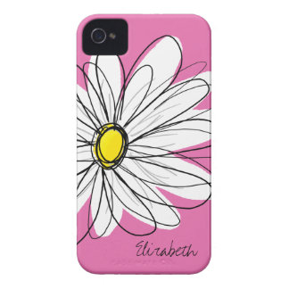 Trendy Daisy Flower with Name - pink yellow iPhone 4 Case
