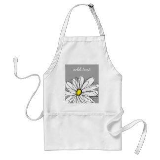 Trendy Daisy with gray and yellow Adult Apron