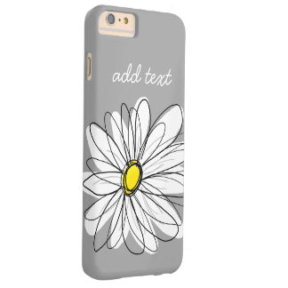 Trendy Daisy with gray and yellow Barely There iPhone 6 Plus Case