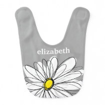 Trendy Daisy with gray and yellow Bib