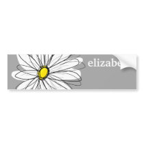 Trendy Daisy with gray and yellow Bumper Sticker