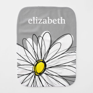 Trendy Daisy with gray and yellow Burp Cloth