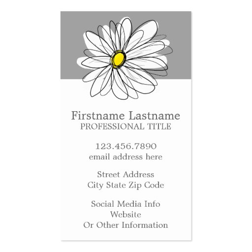 Trendy Daisy with gray and yellow Business Card Template