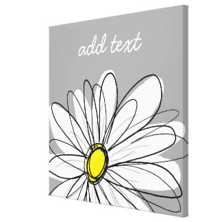 Trendy Daisy with gray and yellow Canvas Print