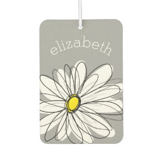 Trendy Daisy with gray and yellow Car Air Freshener