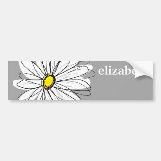 Trendy Daisy with gray and yellow Car Bumper Sticker