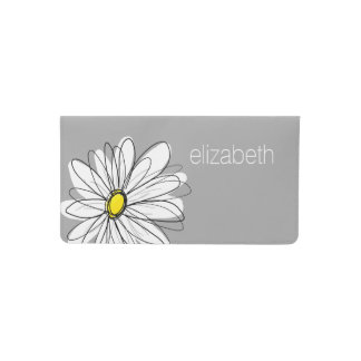 Trendy Daisy with gray and yellow Checkbook Cover