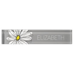 Trendy Daisy with gray and yellow Desk Name Plate