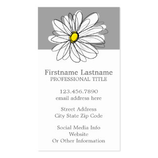 Trendy Daisy with gray and yellow Double-Sided Standard Business Cards (Pack Of 100)