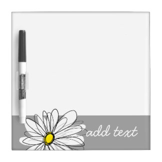 Trendy Daisy with gray and yellow Dry-Erase Board