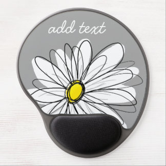 Trendy Daisy with gray and yellow Gel Mouse Pad