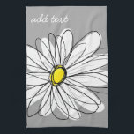 "Trendy Daisy with gray and yellow Hand Towel<br><div class=""desc"">A zen and whimsical,  hipster piece of art. You can add a name,  monogram or other custom text. If you need to move the art around,  click on the customize button to make changes.</div>"