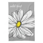 Trendy Daisy with gray and yellow Hand Towel<br><div class='desc'>A zen and whimsical,  hipster piece of art. You can add a name,  monogram or other custom text. If you need to move the art around,  click on the customize button to make changes.</div>