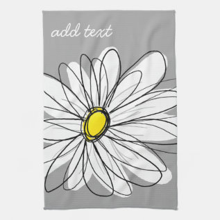 Trendy Daisy With Gray And Yellow Hand Towel at Zazzle