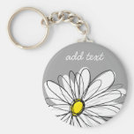 Trendy Daisy with gray and yellow Basic Round Button Keychain