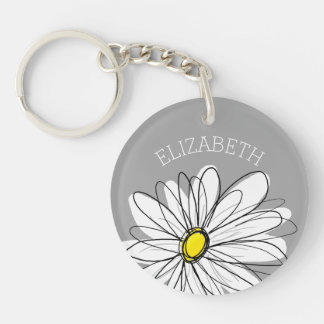 Trendy Daisy with gray and yellow Keychain
