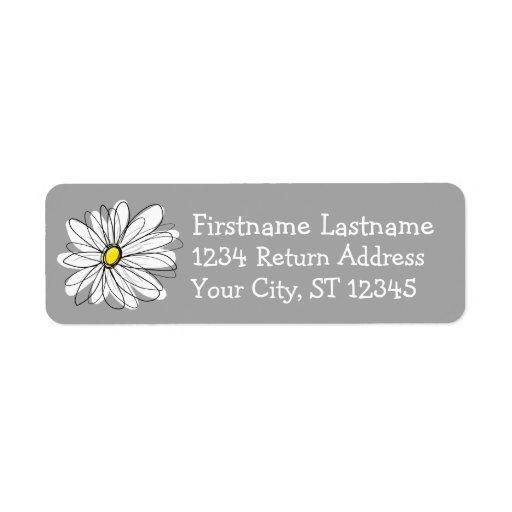 Trendy Daisy with gray and yellow Custom Return Address Label